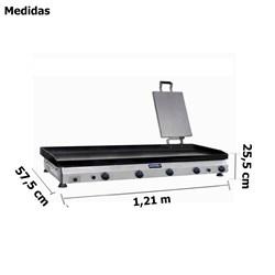 Chapa  De  Fritura  A  Gas 1,2m  Com Prensador - Cfgp123 -  Metvisa