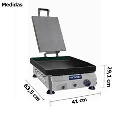 Chapa De Fritura A Gas 40cm Com Prensador - Metvisa - CFGP04