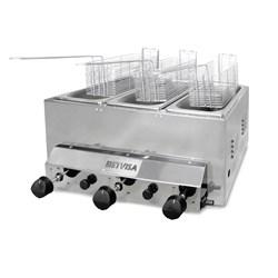 Fritadeira Industrial a Gás   3 Litros  3 Cubas Inox Metvisa -  FG3T