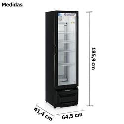 Refrigerador Vertical Porta de Vidro Preto  414 Litros Gelopar